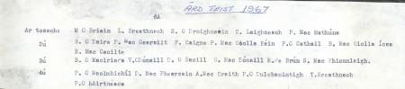 Class List of 1967 6A