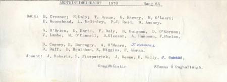 Class List of 1970 6A
