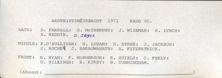 Class List, 1971 6C