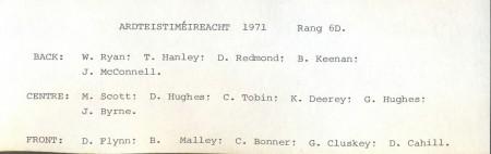Class List, 1971 6D