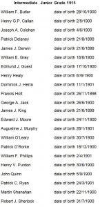 Class List 1915