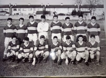 School Team comprising All Ireland Senior FAI schools cup winners February 1992 and Dublin Senior Colleges Football winners 1992. Photograph provided by Derek Moran.